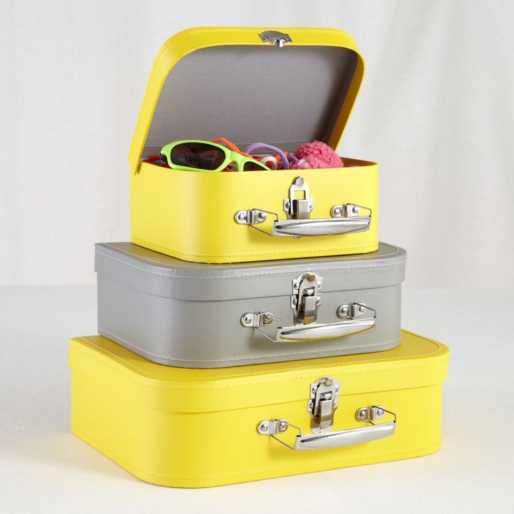 Kids Storage Yellow And Grey Suitcases Bon Voyage Set Of 3 Other Furniture Decor Products