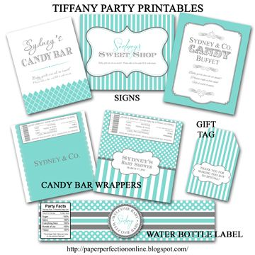 Tiffany Blue Party Printables