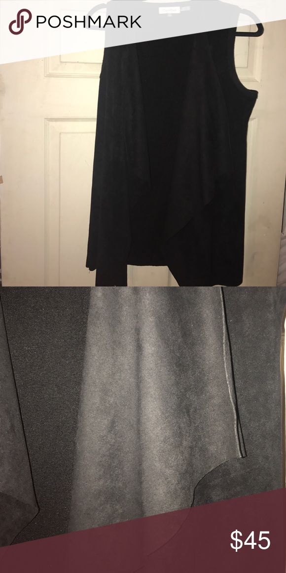 Calvin Klein Suedelike Vest Calvin Klein best. Suede waterfall type front. Back is black cotton. Never worn. Excellent condition. Calvin Klein Jackets & Coats Vests