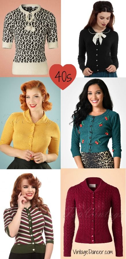 New vintage sweaters : 30s, 40s, 50s, 60s at Vintagedancer com