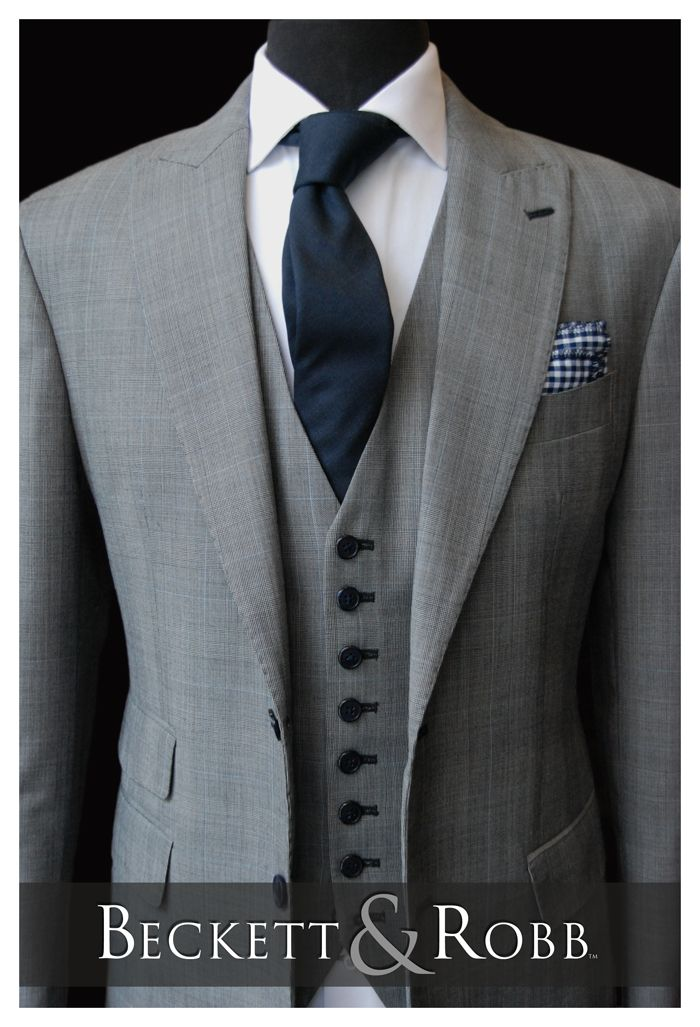 A Beckett & Robb classic.  This look has inspired a LOT of wedding suits.  Custom suit, shirt, tie, and pocket square all by Beckett & Robb.