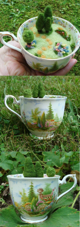 Needle Felted Teacup Pincushion Miniature House - Green ...