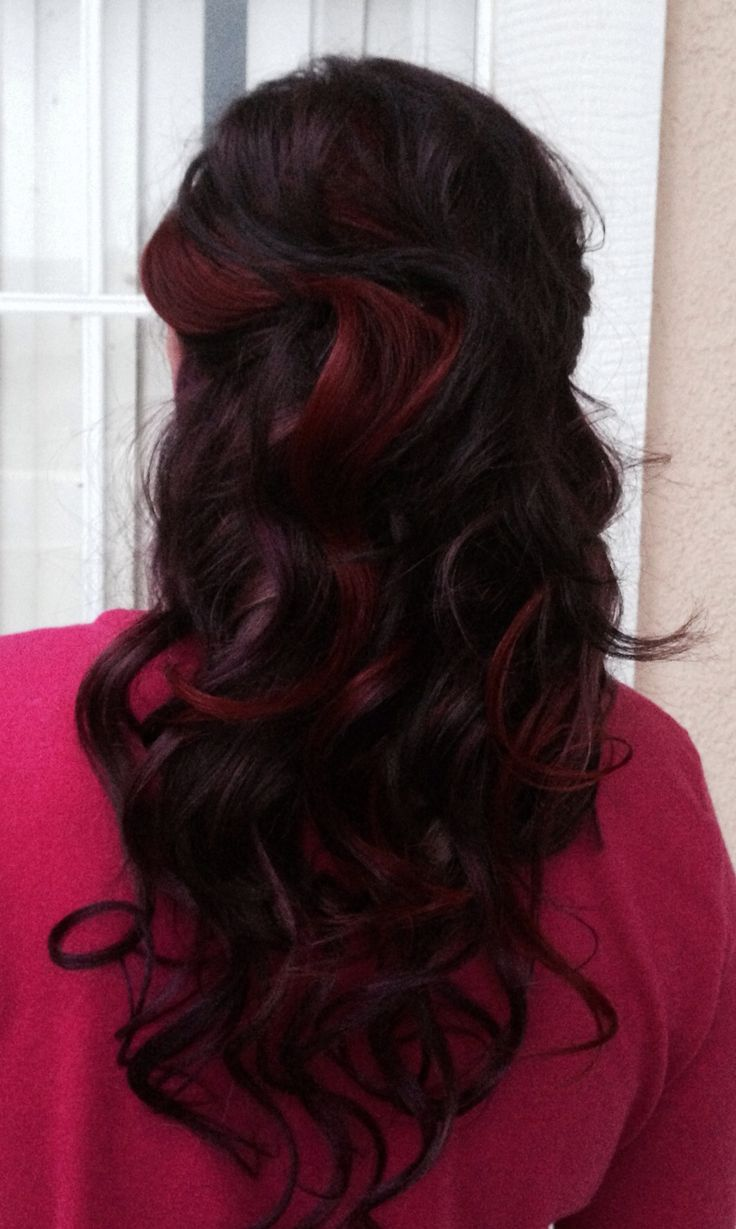 Red Plum Violet Purple Hair Color Peekaboo Color Highlights Lowlights ...