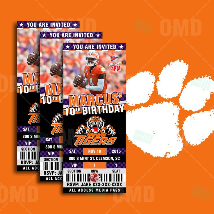 Clemson Tigers Sports Party Invitation, Sports Tickets Invites, Football  Birthday Theme Party Template By Sportsinvites