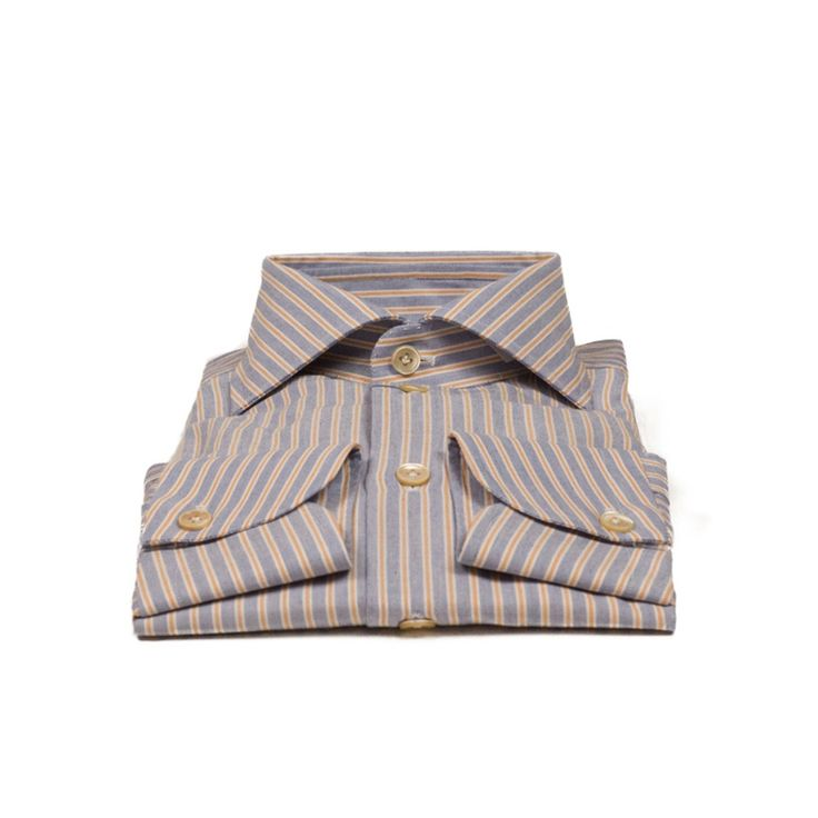 Hand-sewn blue oxford shirt with orange stripes, spread collar | No Man Walks Alone