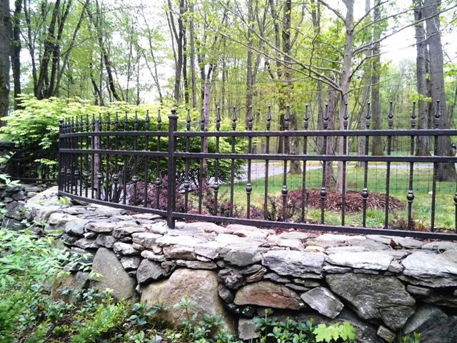 Wrought Iron Fencing On Stone Walls Gardens Yards