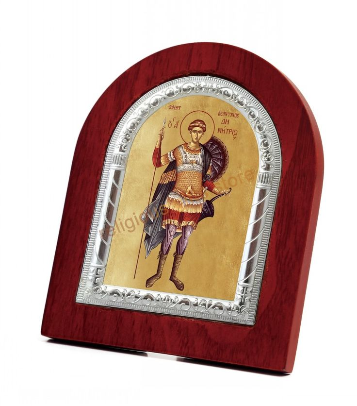 christian religious gifts wall decoration ideas accessory face silver metal on wood frame St. Demetrios pics catholic symbols