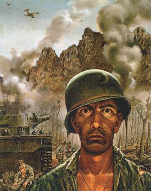 Artist Tom Lea's iconic painting The 2,000 Yard Stare illustrates the toll tha…