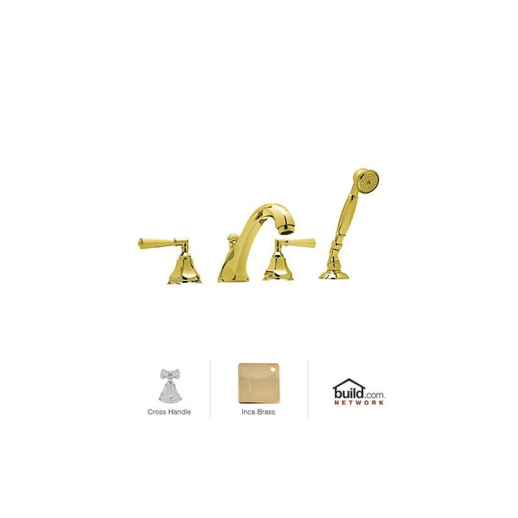 Rohl A1904XM Palladian Roman Tub Faucet with Single Function Hand Shower and Met Inca Brass Faucet Roman Tub Double Handle