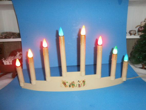 vintage antique christmas lights noma 8 light candolier with metal base and cardboard tube light holders works snowman and sled - Christmas Light Holders