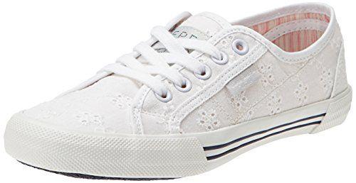Pepe Jeans London ABERLADY ANGLAISE, Damen Sneakers, Weiß (800WHITE), 39 EU - http://on-line-kaufen.de/pepe-jeans/39-eu-pepe-jeans-london-aberlady-anglaise-damen