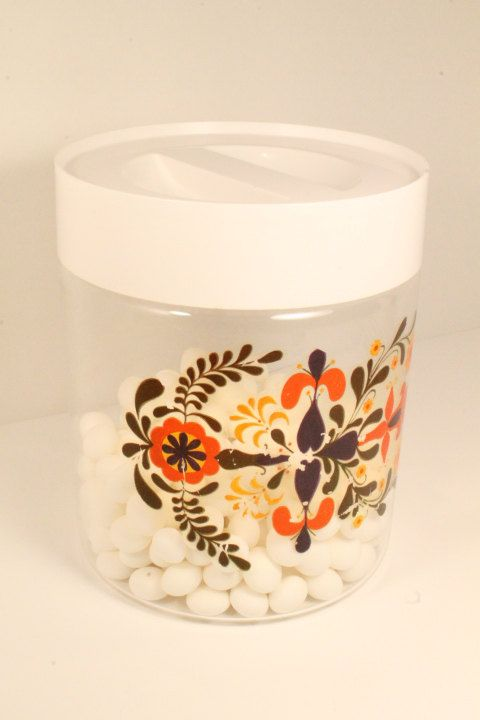 50% OFF SALE:  Kitchen Canister Pyrex Glass by ClockworkRummage