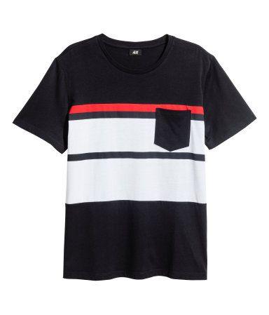 Camiseta | Azul oscuro/Rayas | Hombre | H&M CO