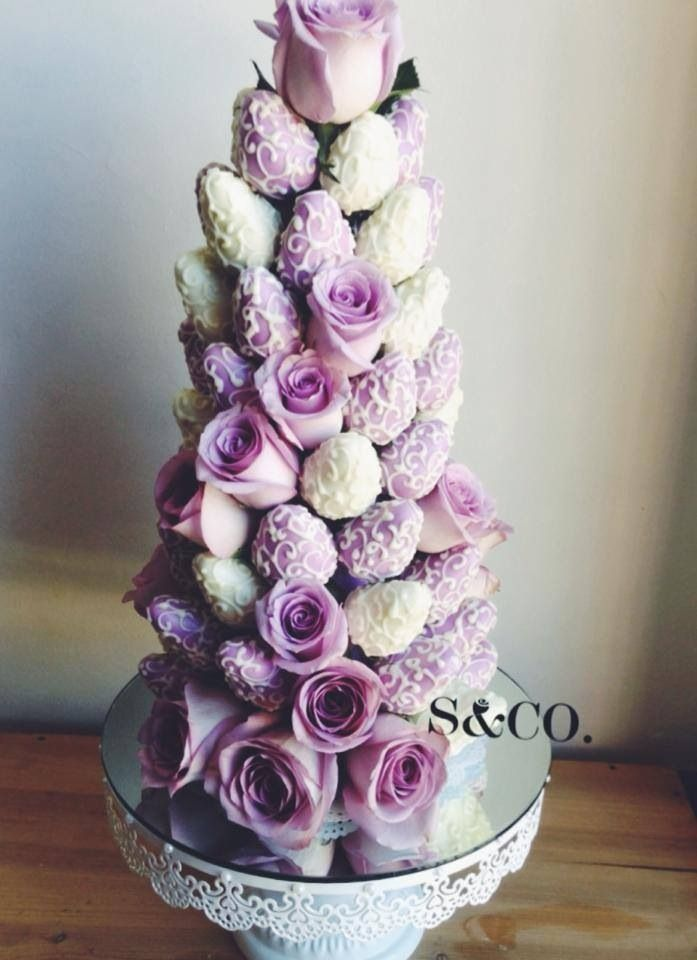 Ideas for a strawberry tower my baby boys christening, but in aqua and white