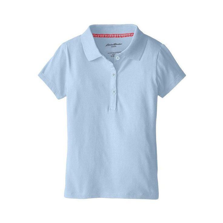 Eddie Bauer Girls' Stretch Knit Polo Light Blue 14, Girl's, Size: 14-16