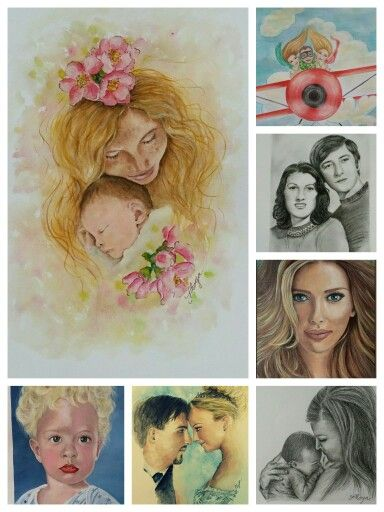 Watercolour, pencil and acrylic portraits