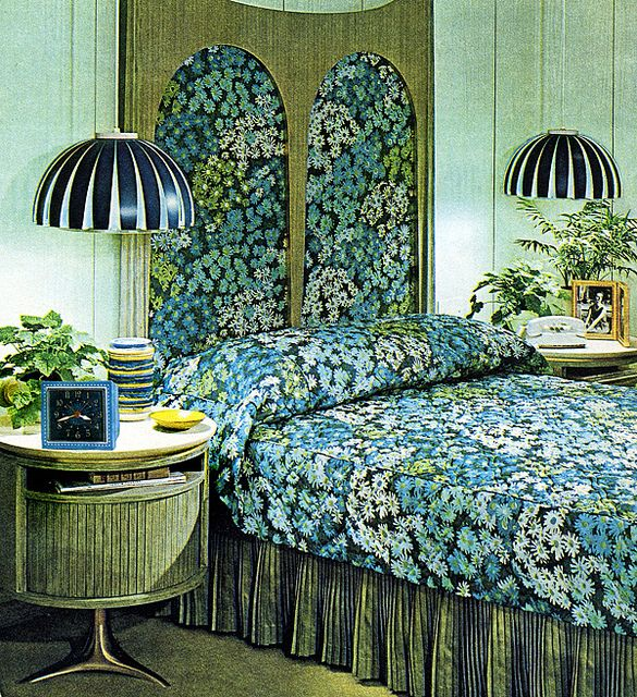 retro bedroom 1965 the love of monochromatics and florals