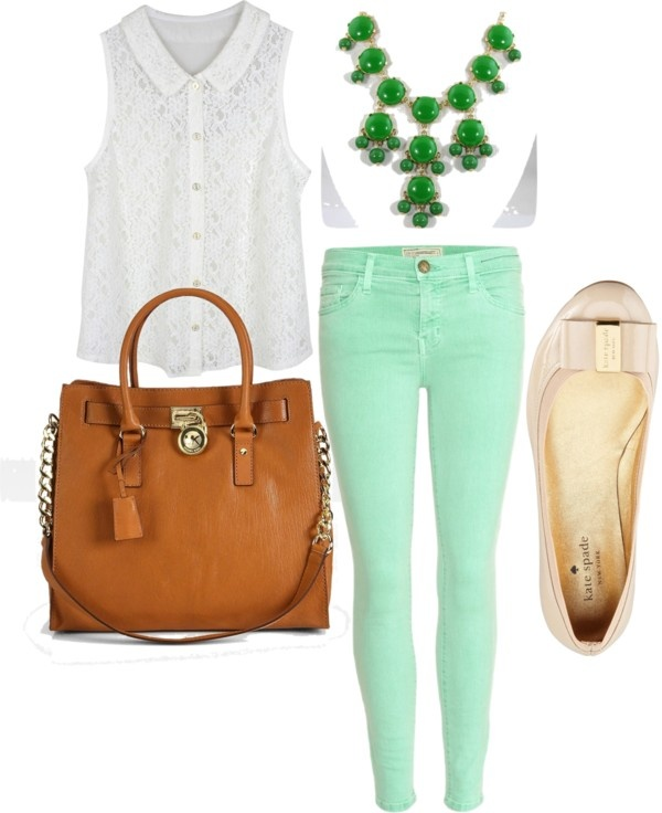 Colored Jeans Outfits, Jean Jacket Outfits, Mint Jeans Outfit, Mint Outfits, Spring Outfits, Mint Green Jeans, Mint Green Outfit Ideas, Mom Fashion, Fashion Outfits Find this Pin and more on How To Wear Mint For Any Seasonal Color Palette by Your Color Style - Color Analysis.