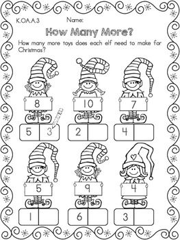 How Many More? Decomposing Numbers Worksheet >> Part of the Christmas Kindergarten Math Worksheets (Common Core Aligned)