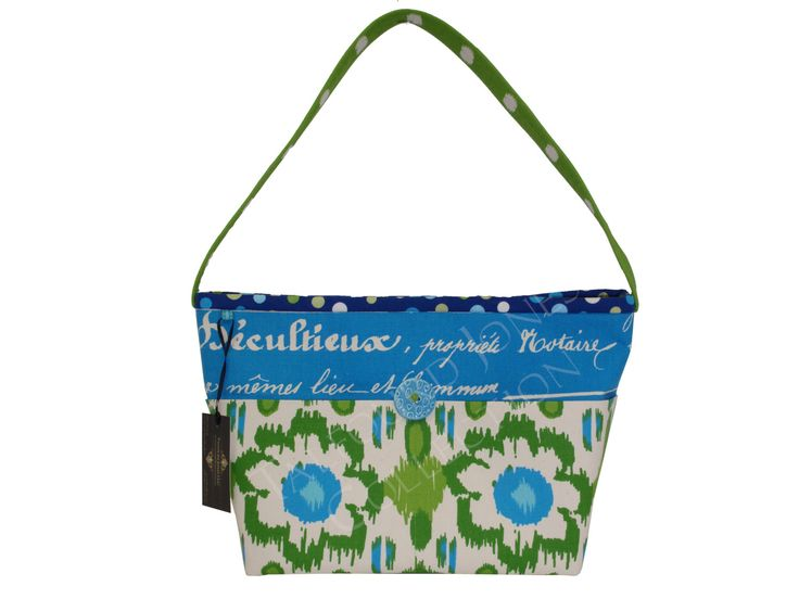Blue, Green, Ivory - Floral, Script Purse - French Style Signature - Polka Dot - East West Handle - Small Knitting Tote - Mom Handmade Gift by TalfourdJones on Etsy
