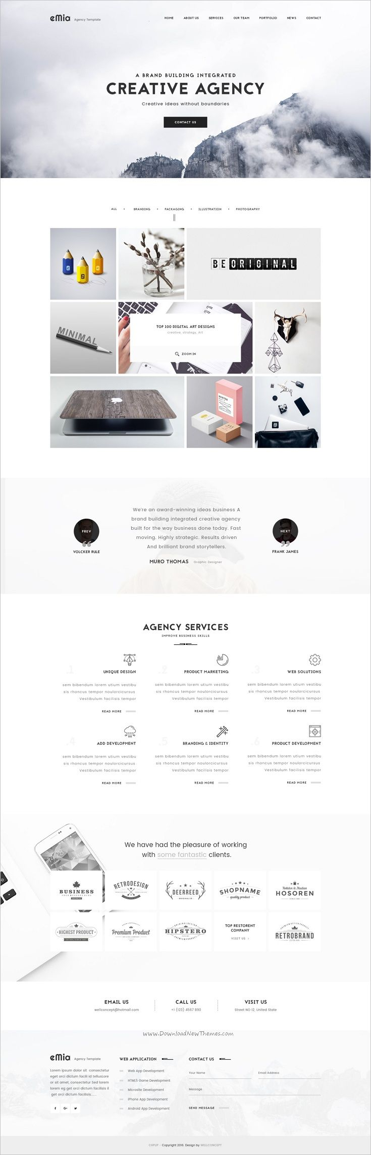eMia is a professional #Photoshop #Template for #webdev creative Agencies & Portfolio websites with 6 homepage layouts and 15 organized PSD pages download now➩ https://themeforest.net/item/emia-creative-agencies-portfolio-psd-template/17844530?ref=Datasata