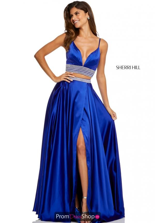 5c3d4fc3aab Chic two piece prom dress 52907 by Sherri Hill features a V neckline crop  top and
