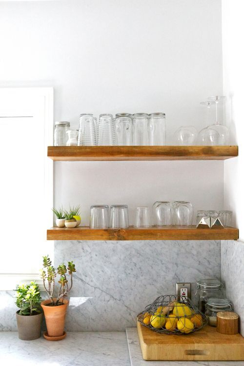 timber shelves in kitchen? not for utensils and grocery but for art, plants, herb pots etc? Loved by www.chicncheeky.com.au