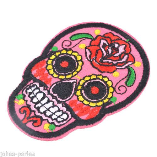 25PCs Embroidered Patches For Clothes Garments Iron Sew pink Skeleton 7.1x5.2cm