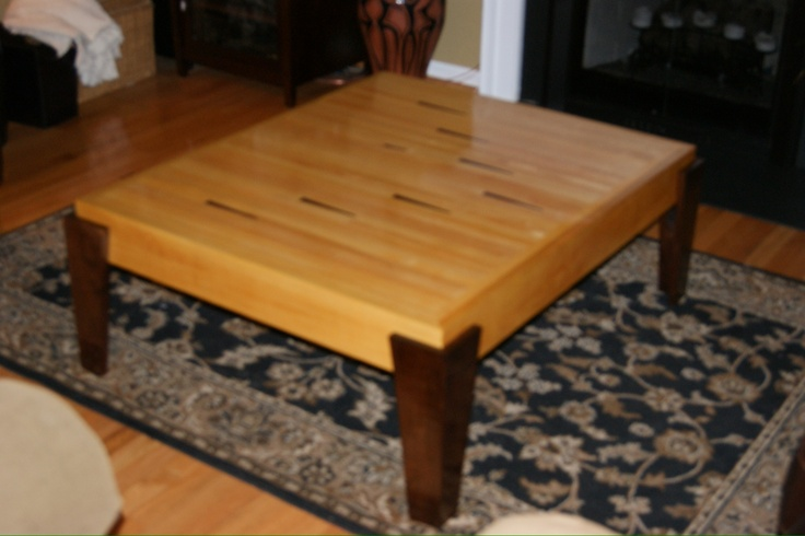 Coffee table I made out of a salvaged bowling alley lane