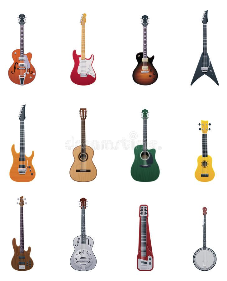 Vector Guitars Icon Set Set Of The Different Types Of Guitar Icons Affiliate Icon Set Vector Guitars Guit Icon Set Stock Images Free Stock Vector