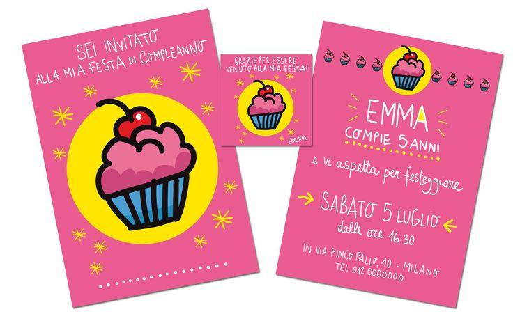 Biglietto di invito festa di compleanno personalizzabile + biglietto grazie : Arte digitale di burabacio