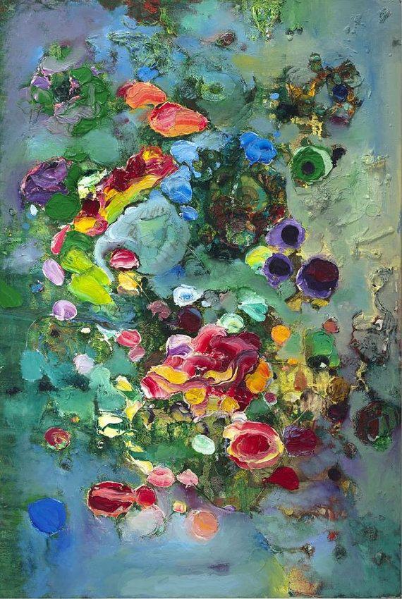Seerosen Fine Art Print (Giclée) auf Leinwand von Tracey Chikos 40 x 60 '' (nicht gestreckt) mit gespiegelten Rand