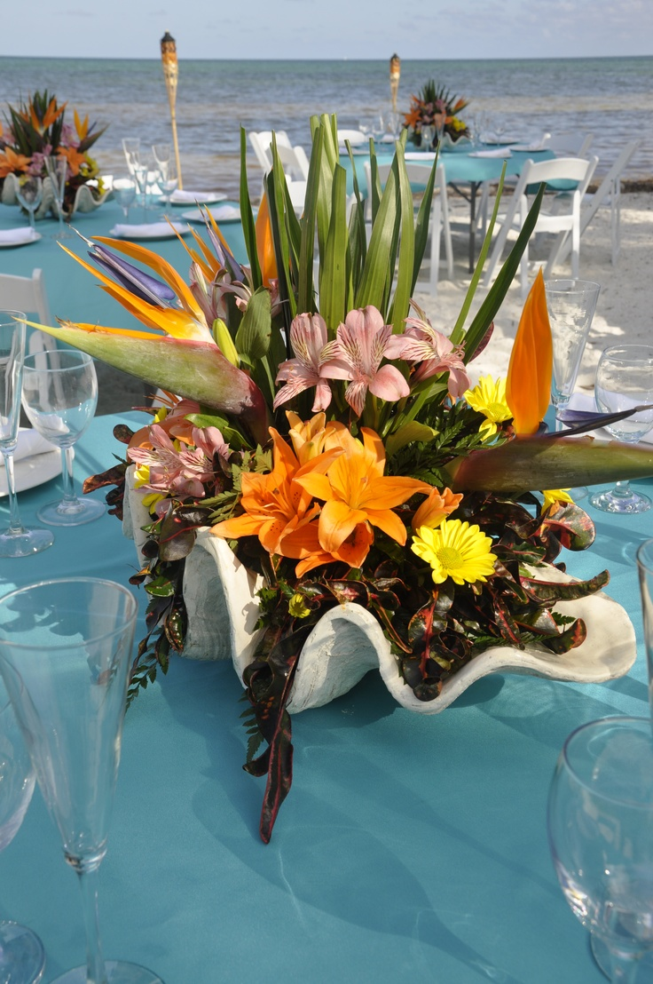 Turquoise Blue Linens w/ tropical flowers in a clam shell.