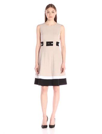 Happy mother's day! Buy the best gift for your lovely mother at the cheapest price ever! Calvin Klein Women's Fit-And-Flare Color-Block Dress