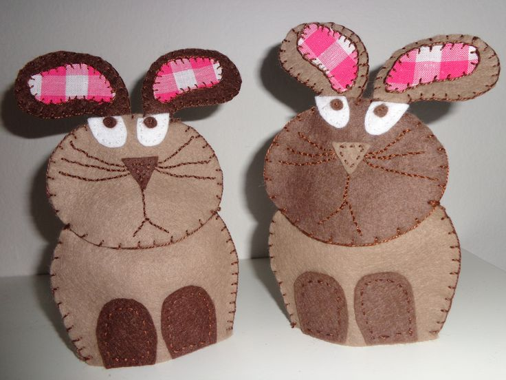 Happy Easter  simple Easter bunnies made from felt
