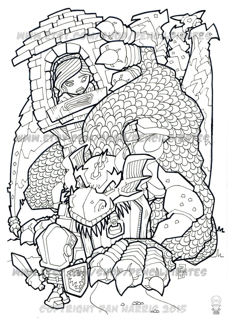 The Dragon Knight And Princess Colouring Page Adult Book