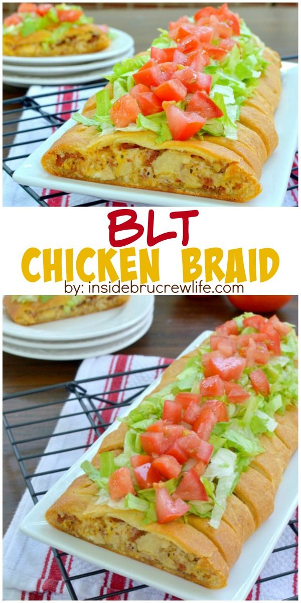 Bacon, lettuce, and tomato make this chicken braid a fun dinner choice or after school snack.