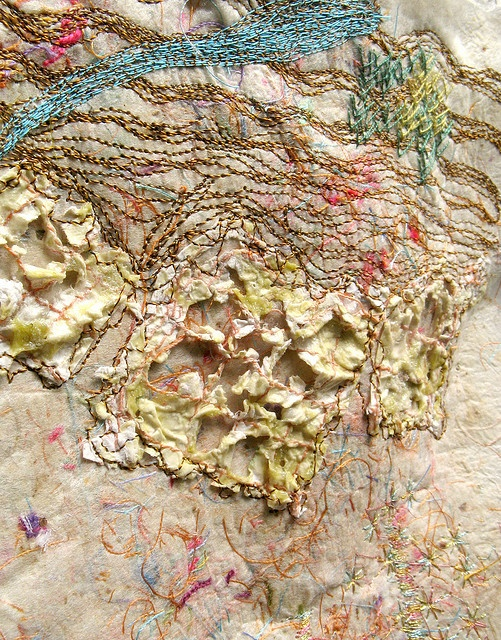 Silk paper with paper. by stitchworks-jackie, via Flickr