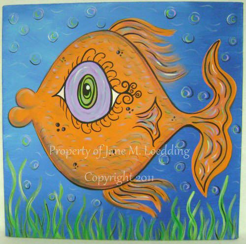 Fun fish original acrylic painting whimsical acrylic for Fish paintings on canvas