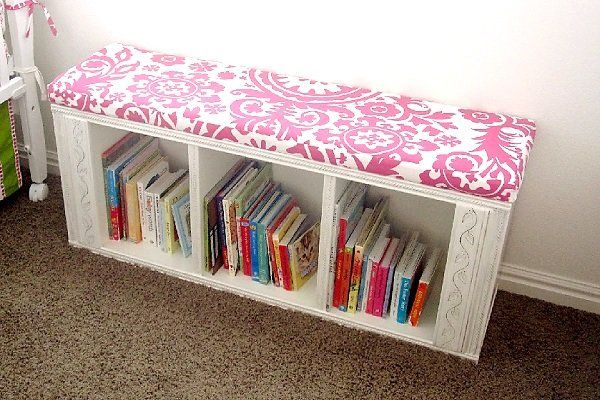 Re-purposed bookshelf to bench....bookshelf for the nursery and a window seat that you have always wanted