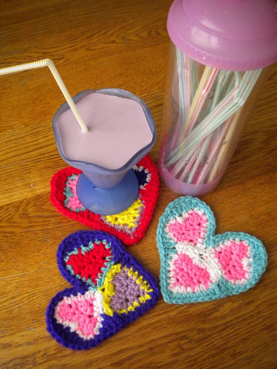 Love Coasters by Mistyscrochet on Etsy, $10.00: Talent Etsy, True Colors, Etsy Friends, Colors Boutique