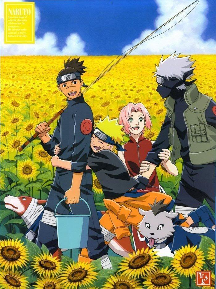 Iruka, Naruto, Sakura and Kakashi from Naruto.