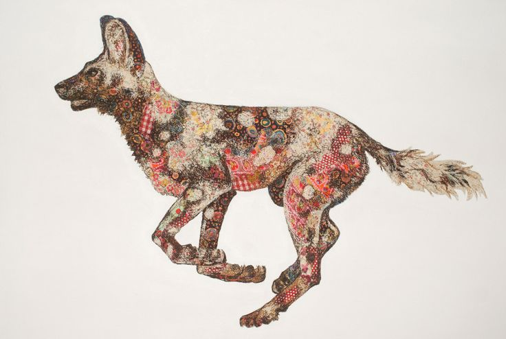 Wild Dog Solo | Sophie Standing Art | Textile embroidery art from Africa