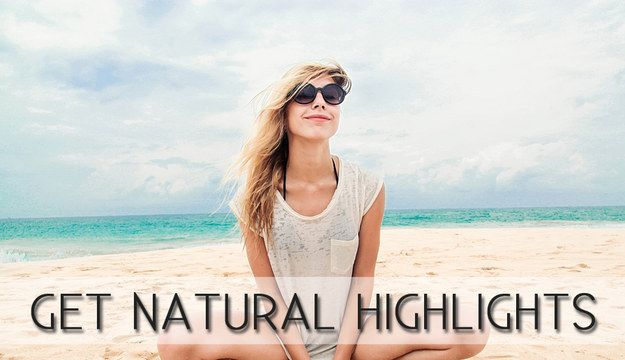 Use the sun to your advantage to create natural highlights. Apply a mixture of coconut oil, lemon juice, water, and salt before going to the beach or pool. |  Beauty Tricks