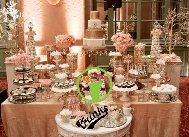 Cake Table Full Of Deserts Wedding Candy Table Dessert Bar Wedding Gold Dessert Table