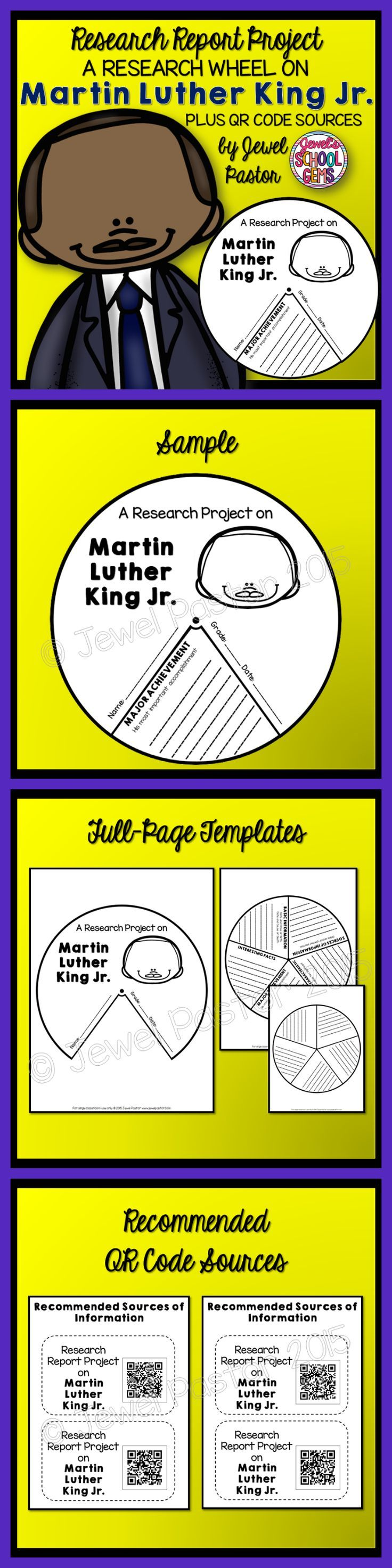 Martin Luther King : Martin Luther King Research Wheel  MARTIN LUTHER KING JR  This is a 6-page resource that consists of spinner templates that can be used to create a research wheel on the biography of Martin Luther King Jr.  This Martin Luther King Jr research report project contains the following:  Page 1: Cover  Page 2: Front Cover  Page 3: The Wheel *Basic Information *Interesting Facts *Major Achievement *Most Notable Characteristic *Sources of Information  Page 4: Customizable…