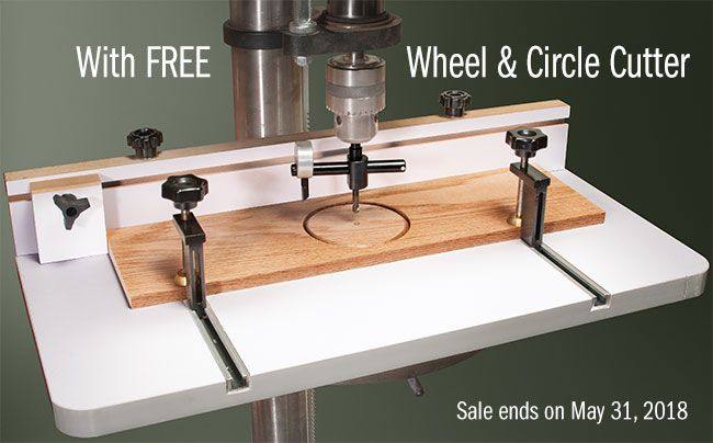 Mlcs Drill Press Table With Wheel And Circle Cutter Drill Press