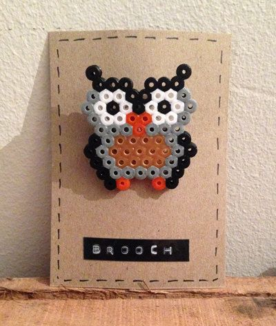 Owl brooch hama beads by LittleRatsBoutique