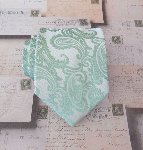 Tie Dusty Shale Green Pale Green Pastel Green by TieObsessed, $19.95