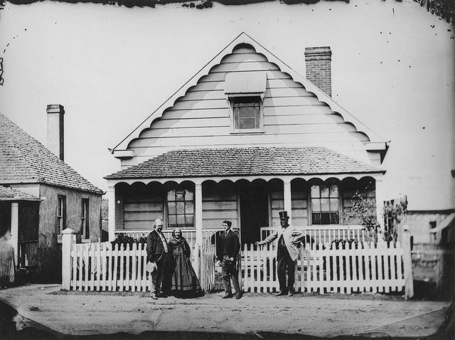 Margaret Street, Brisbane c. 1871.  Cute little cottage - Margaret Street is in the middle of the Brisbane CBD, all high rise now and this relic long gone